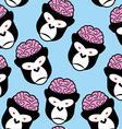 Gorilla seamless pattern Monkey brains ornament vector image