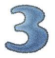 Jeans alphabet Denim number 3 vector image