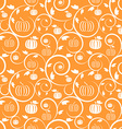 Orange seamless pattern with pumpkin leaves vector image