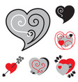 set of different shaped heart icons vector image