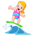 surfing girl vector image