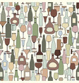 wine bottle and wine glass seamless pattern drink vector image