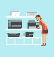 young woman choosing mfp printer at appliance vector image