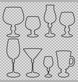 set of wine glasses balck silhouette vector image