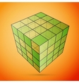 Three D cube green vector image