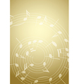 bright music background with notes - golden vector image