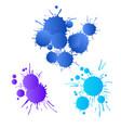 blue navy purple watercolor paint drops vector image