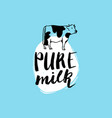 hand drawn milk label sign for dairy vector image