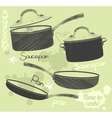 Pans and pots realistic set with frying pan vector image