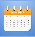 usa calendar for june 2017 week starts on sunday vector image