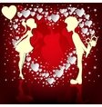 couple on a red background vector image