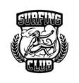 monochrome logo emblem girl surfer surfing on vector image