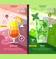 flat style cocktail menu design vector image