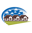 Colorful of country houses on nature background vector image
