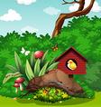 Bird and bugs in the garden vector image