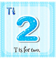 Flashcard alphabet T is for two vector image