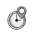grayscale wall clock design with location symbol vector image
