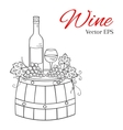 Wine bottle glass and grapes on wooden barrel vector image