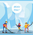 winter scene with happy family in mountains on vector image