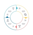 Circular chart diagram with 4 steps options vector image vector image