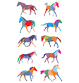 Set of colorful trotting horses silouettes vector image