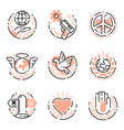 peace outline thin line icons love world freedom vector image