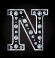 n letter made with diamonds isolated on vector image vector image