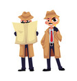 detective character looking through magnifying vector image