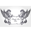 Vintage Pegasus with scroll for your text vector image