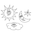 outlined sun moon star and cloud vector image