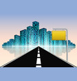 road to the city with road traffic yellow sign vector image