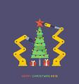 robot and Christmas tree vector image