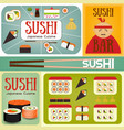 sushi bar posters set vector image