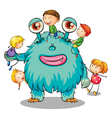 kids playing with monster vector image vector image