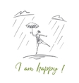 Hand drawn girl dancing under rain with lettering vector image
