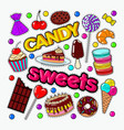 candy and sweet food doodle with chocolate vector image