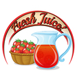 A fresh juice label with a basket of tomatoes and vector image vector image