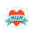 Heart tattoo with mum ribbon vector image vector image