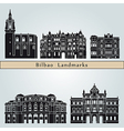 Bilbao landmarks and monuments vector image vector image