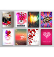 Set of Valentines Flyer Design Invitation Cards vector image vector image