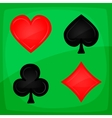 Casino Poker Icons On Green Carpet vector image