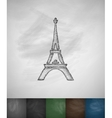 Eiffel Tower icon Hand drawn vector image