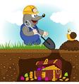 mole digs treasure vector image