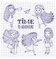 Set of cute girls women traveler vector image