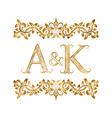 AK vintage initials logo symbol Letters A K vector image