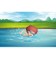 A boy swimming at the river with goggles vector image vector image