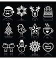Christmas winter white icons set on black vector image vector image
