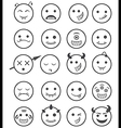 20 smiles vampires icons set black and white vector image