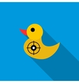Yellow duck target icon flat style vector image