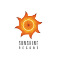 Gradient sun logo resort mockup abstract creative vector image